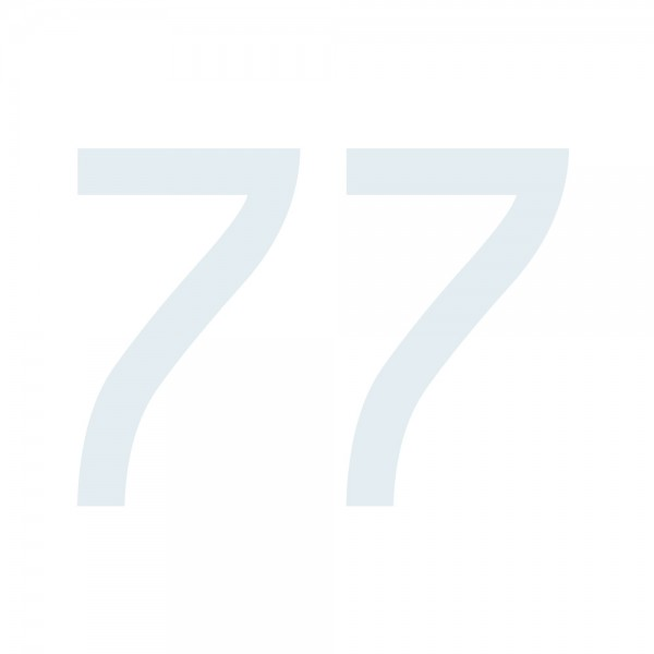 Zahlenaufkleber 77 weiß