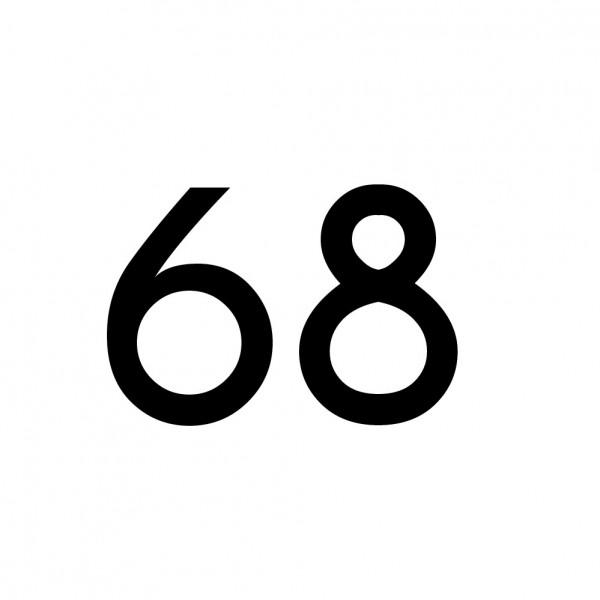 Hausnummer Aufkleber 68 schwarz