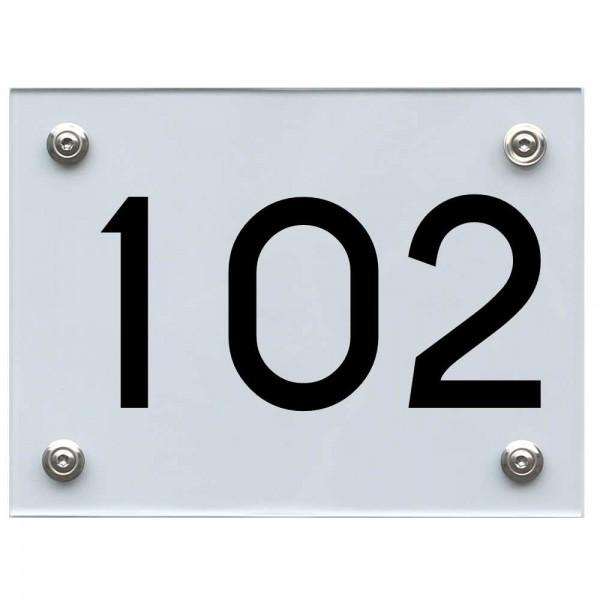 Hausnummernschild 102 schwarz