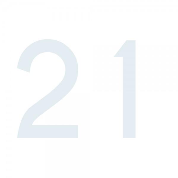 Zahlenaufkleber 21 weiß