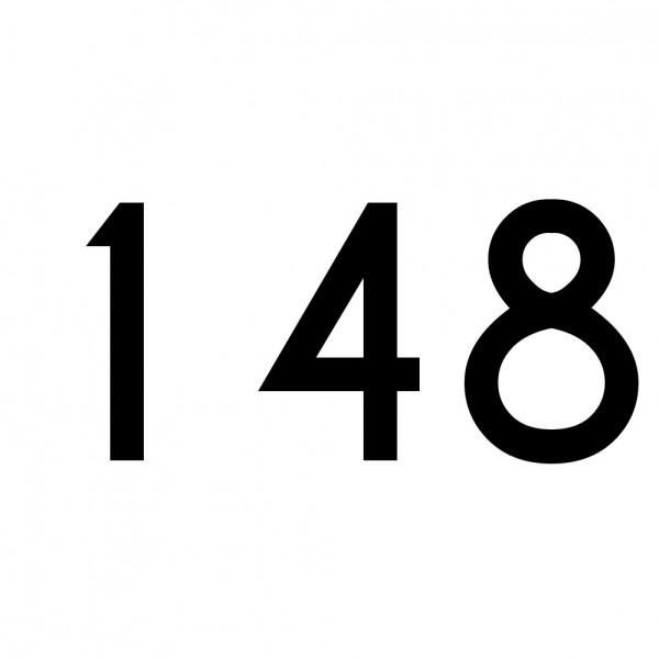 Hausnummer Aufkleber 148 schwarz