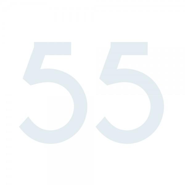 Zahlenaufkleber 55 weiß