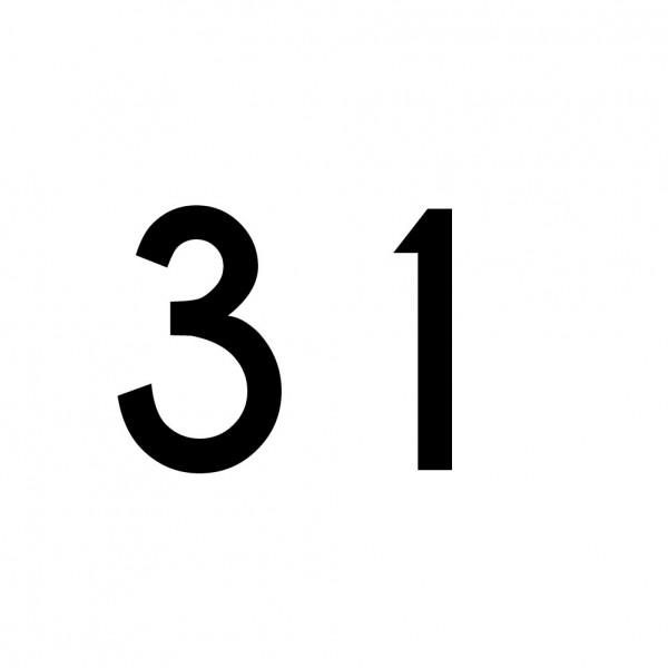Hausnummer Aufkleber 31 schwarz