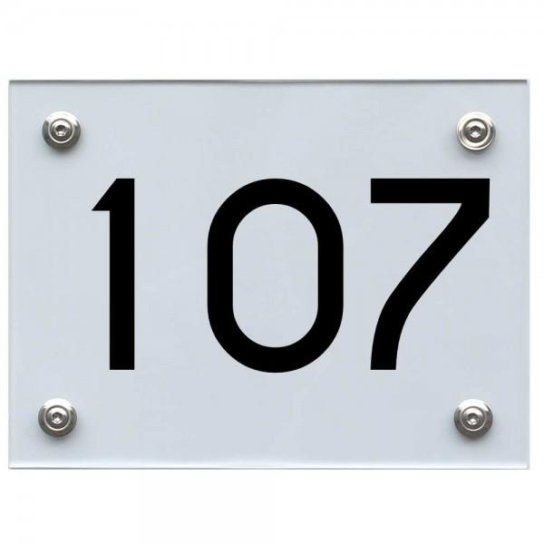 Hausnummernschild 107 schwarz