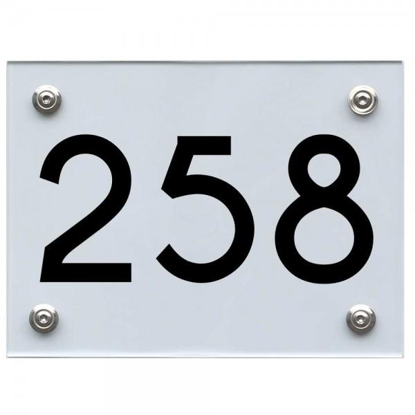 Hausnummernschild 258 schwarz