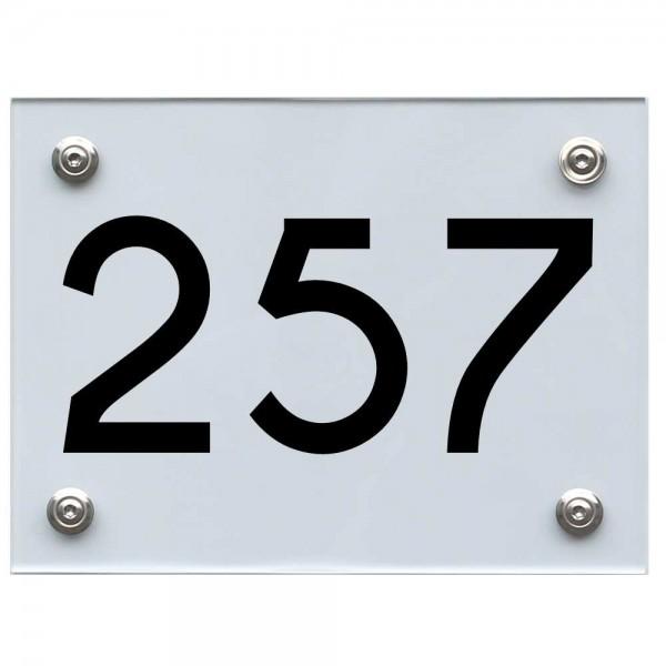 Hausnummernschild 257 schwarz