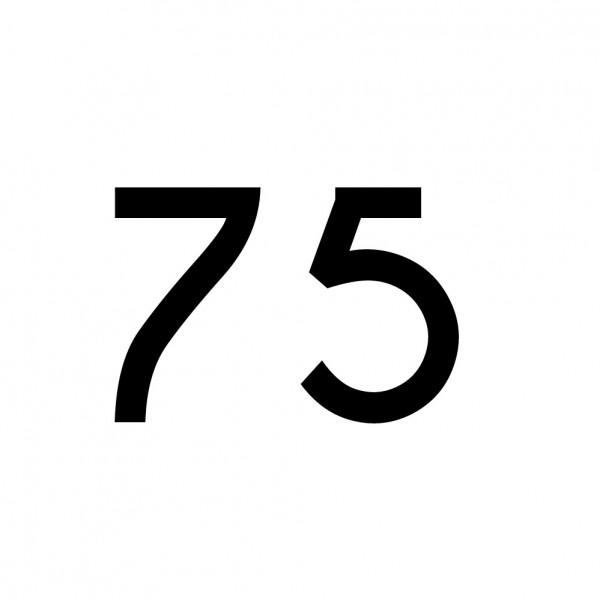 Hausnummer Aufkleber 75 schwarz