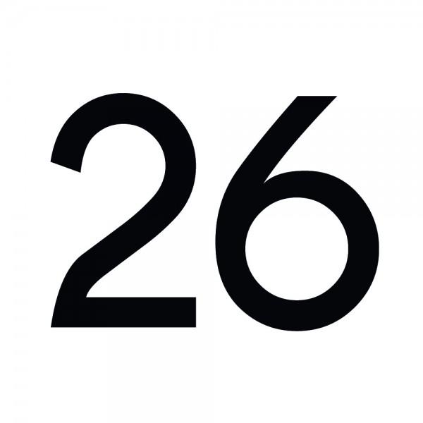 Zahlenaufkleber 26 schwarz