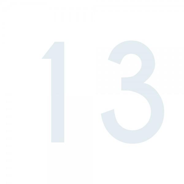 Zahlenaufkleber 13 weiß