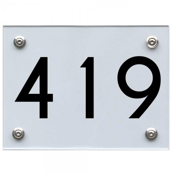 Hausnummernschild 419 schwarz