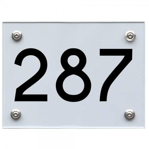 Hausnummernschild 287 schwarz
