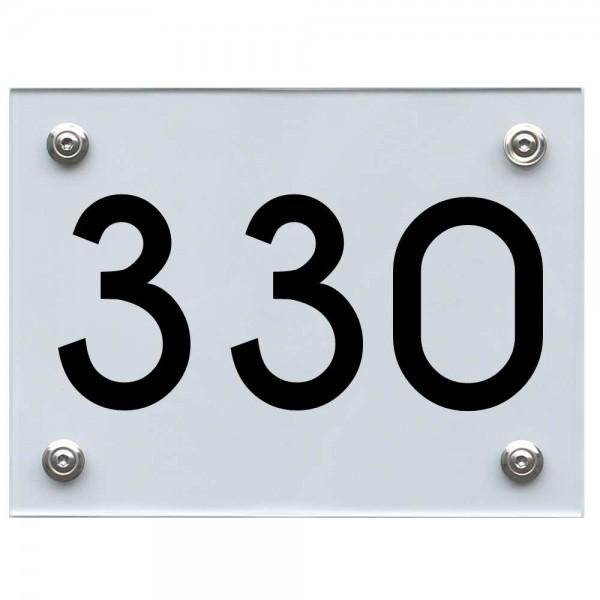 Hausnummernschild 330 schwarz