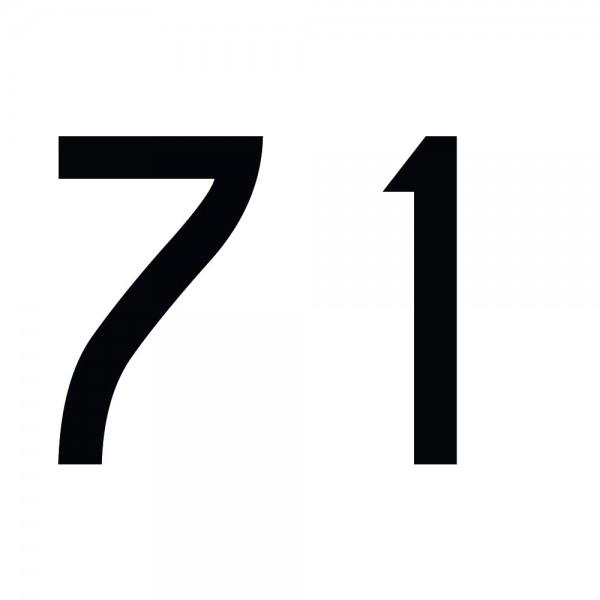 Zahlenaufkleber 71 schwarz