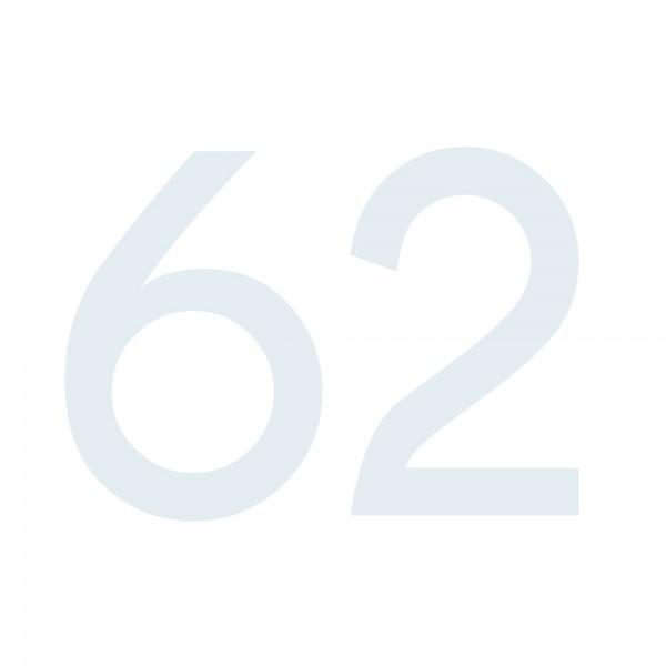 Zahlenaufkleber 62 weiß