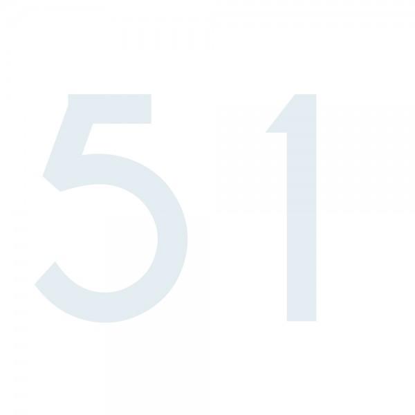Zahlenaufkleber 51 weiß
