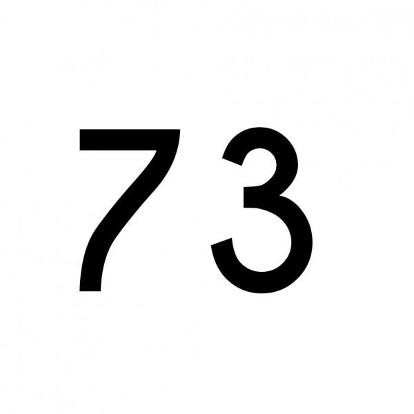 Hausnummer Aufkleber 73 schwarz