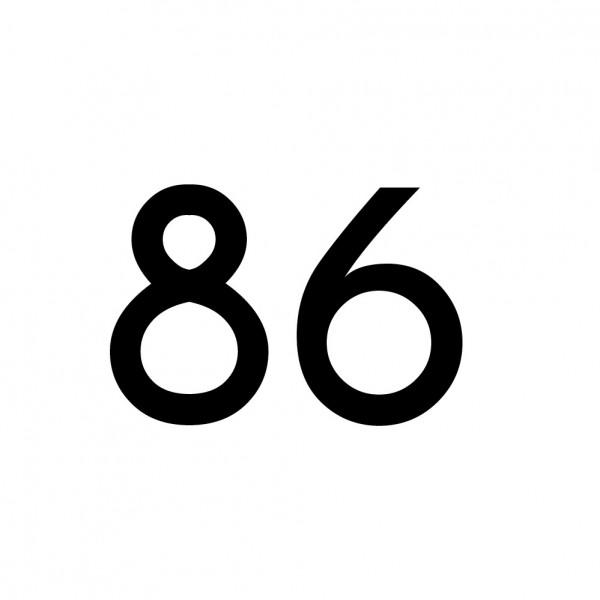 Hausnummer Aufkleber 86 schwarz