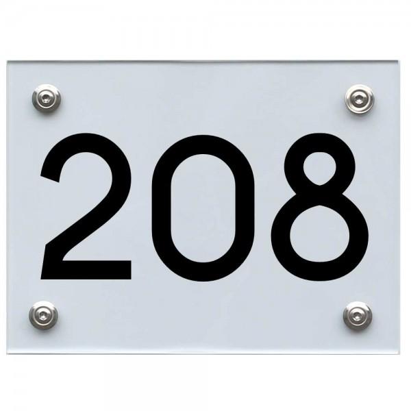 Hausnummernschild 208 schwarz