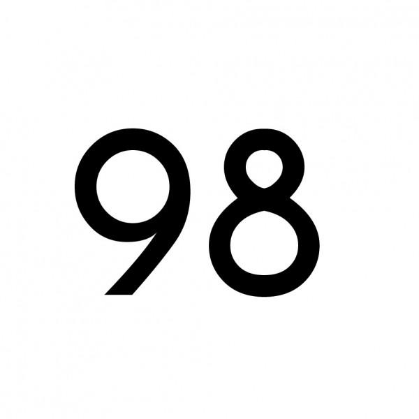 Hausnummer Aufkleber 98 schwarz
