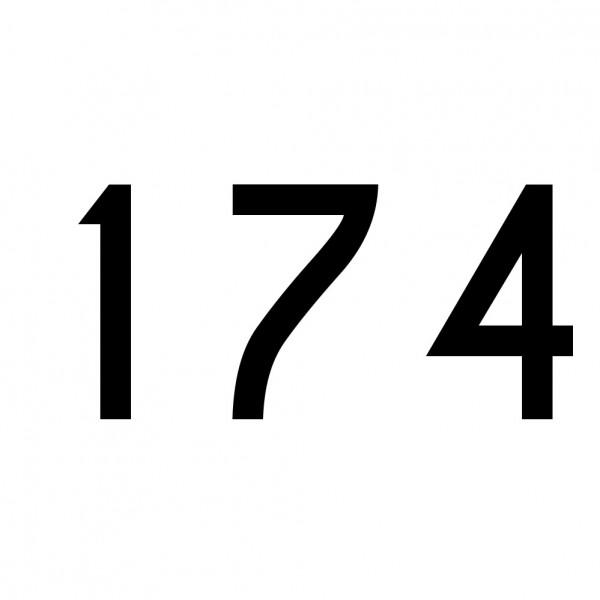 Hausnummer Aufkleber 174 schwarz