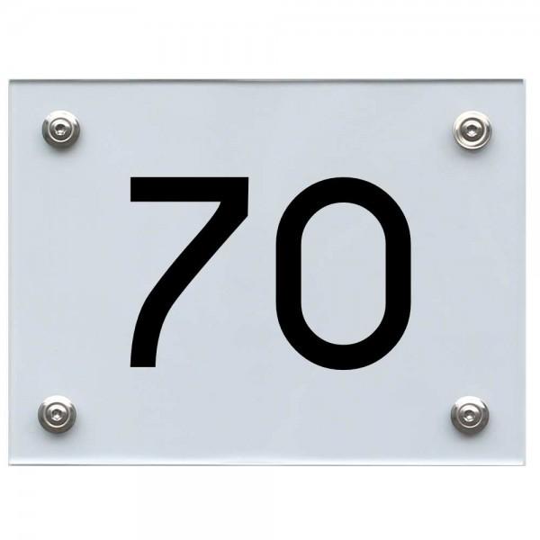 Hausnummernschild 70 schwarz