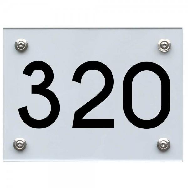 Hausnummernschild 320 schwarz