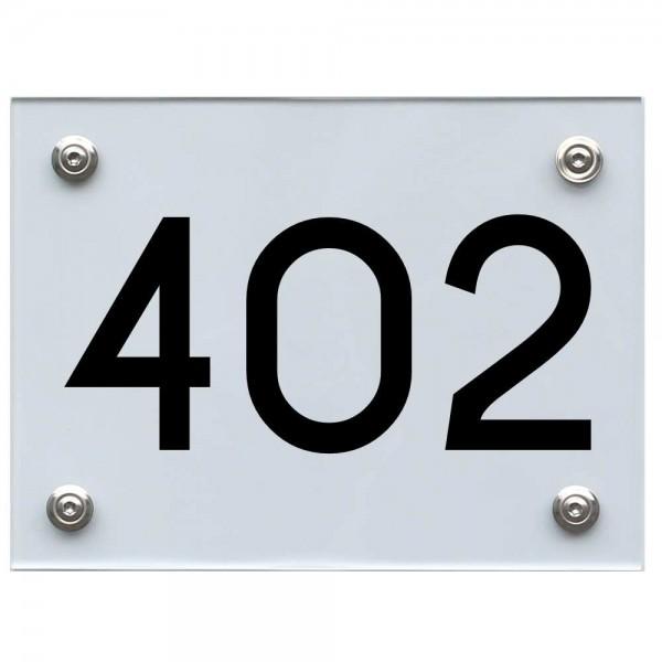Hausnummernschild 402 schwarz