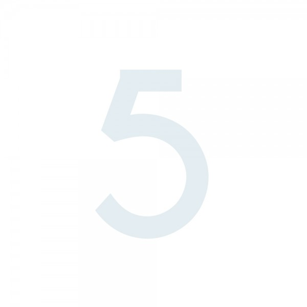 Zahlenaufkleber 5 weiß