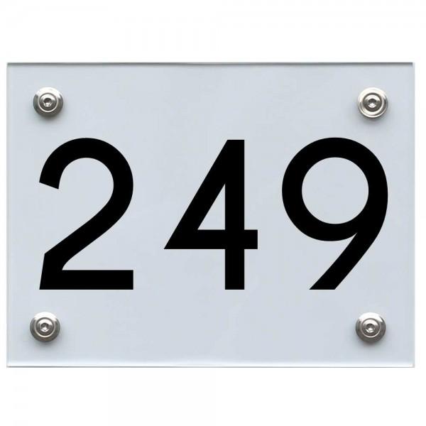 Hausnummernschild 249 schwarz