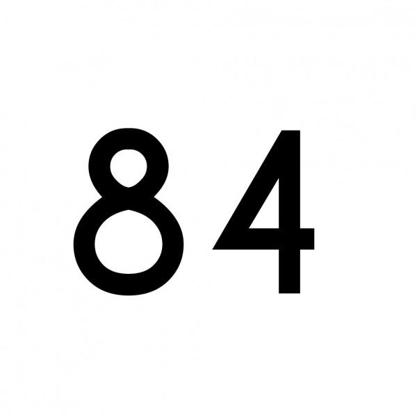 Hausnummer Aufkleber 84 schwarz
