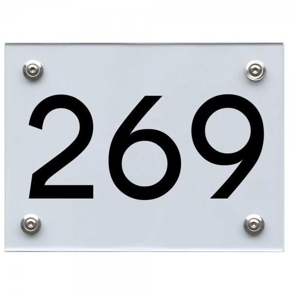 Hausnummernschild 269 schwarz