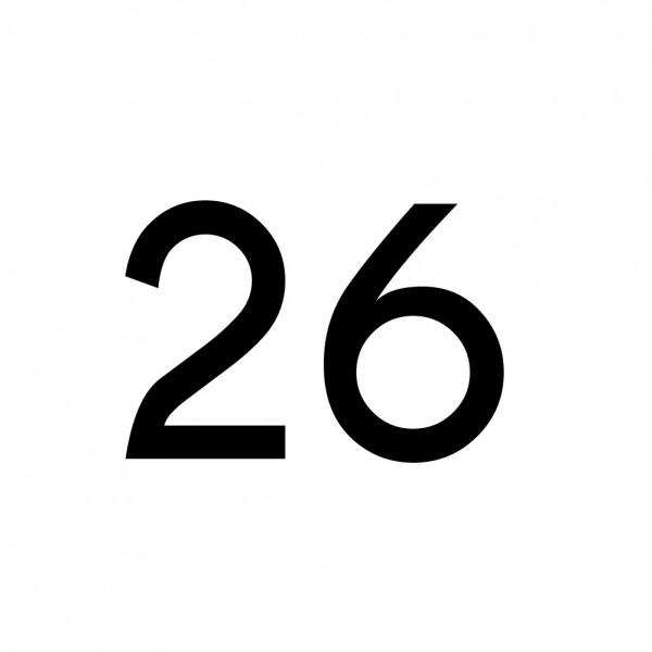 Hausnummer Aufkleber 26 schwarz