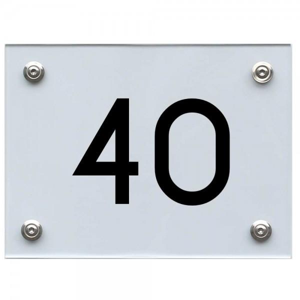 Hausnummernschild 40 schwarz