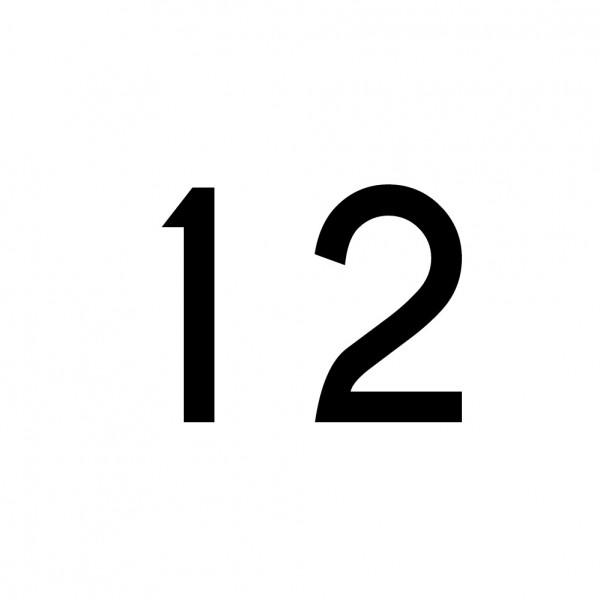 Hausnummer Aufkleber 12 schwarz