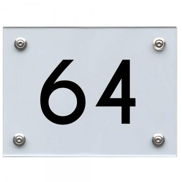 Hausnummernschild 64 schwarz