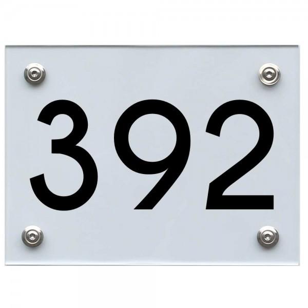 Hausnummernschild 392 schwarz