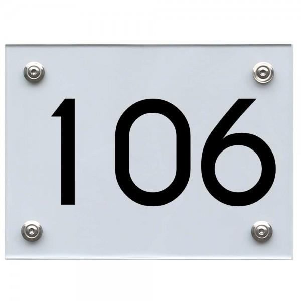 Hausnummernschild 106 schwarz