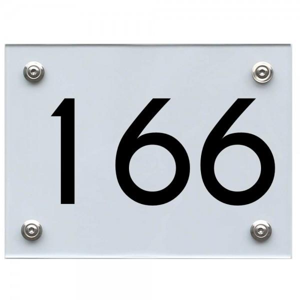 Hausnummernschild 166 schwarz