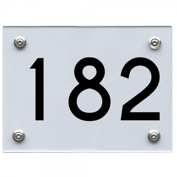 Hausnummernschild 182 schwarz