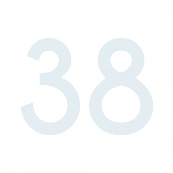 Zahlenaufkleber 38 weiß