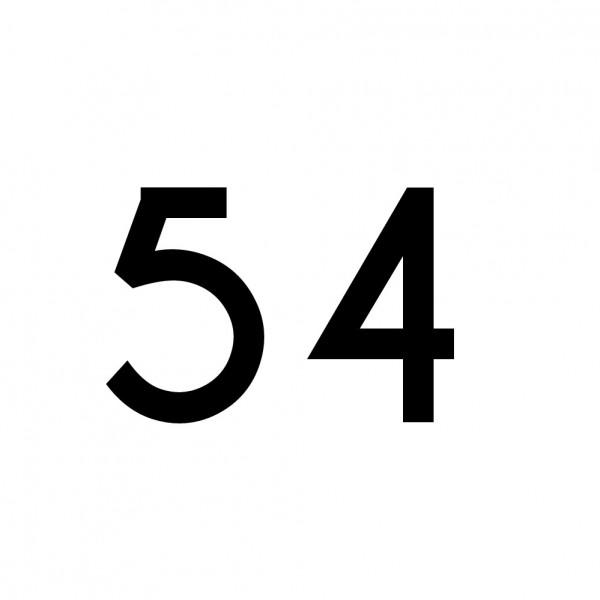 Hausnummer Aufkleber 54 schwarz