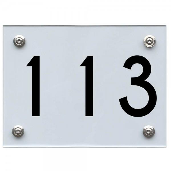 Hausnummernschild 113 schwarz