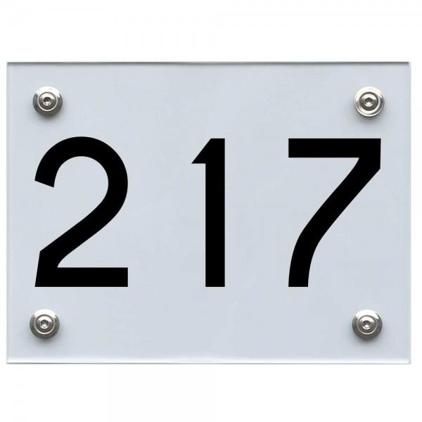 Hausnummernschild 217 schwarz