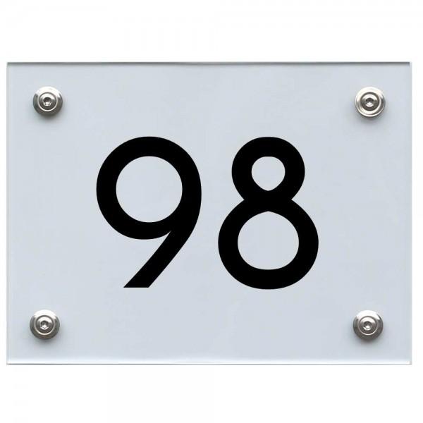 Hausnummernschild 98 schwarz