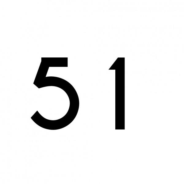 Hausnummer Aufkleber 51 schwarz