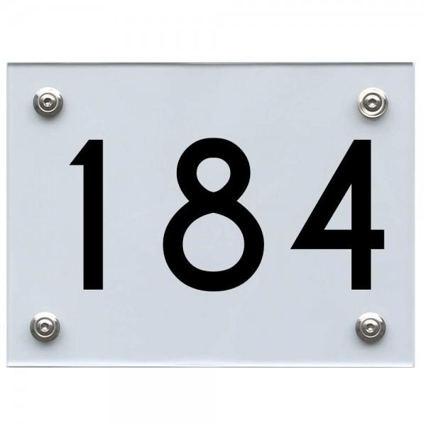 Hausnummernschild 184 schwarz
