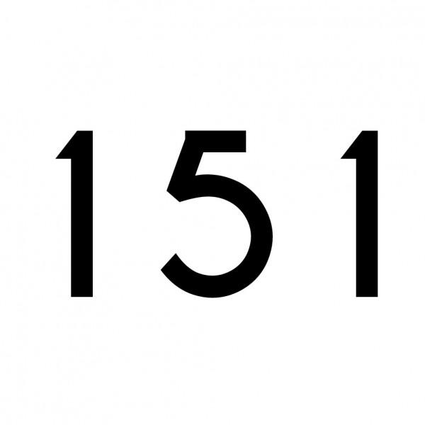 Hausnummer Aufkleber 151 schwarz