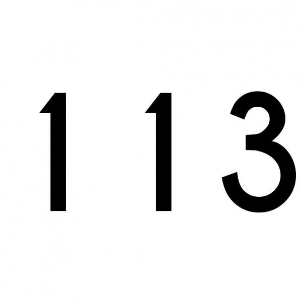 Hausnummer Aufkleber 113 schwarz