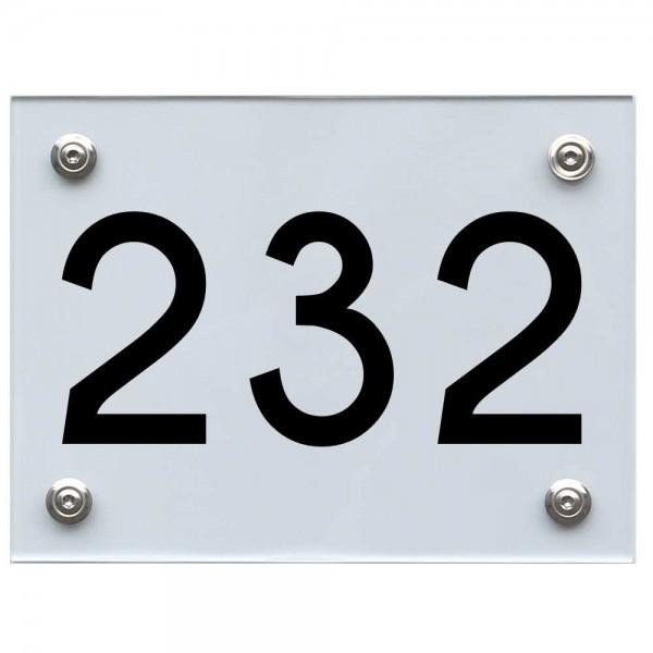 Hausnummernschild 232 schwarz