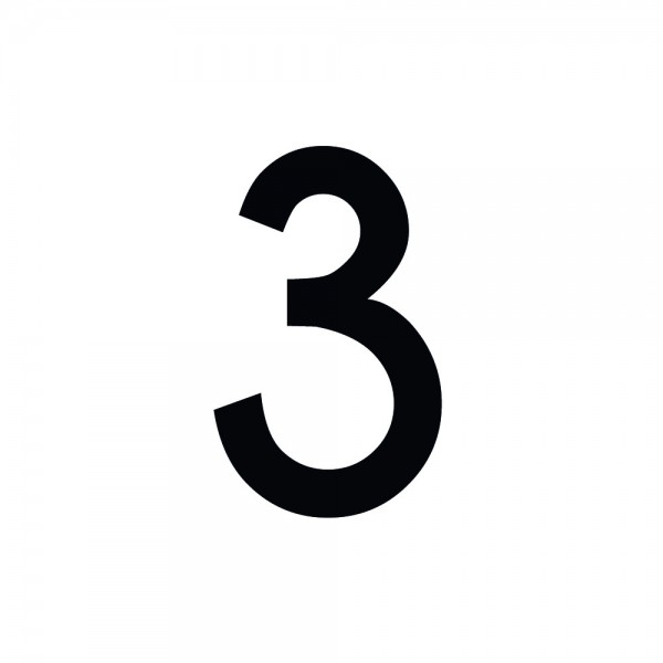 Zahlenaufkleber 3 schwarz